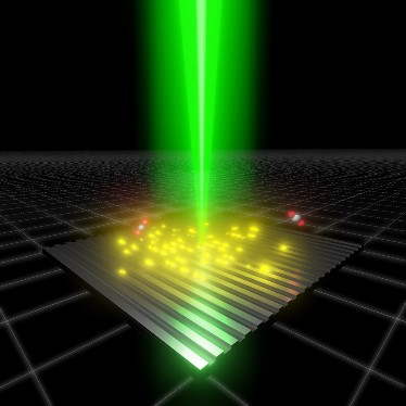 Solid carbon on a nanostructured silver surface illuminated with green light