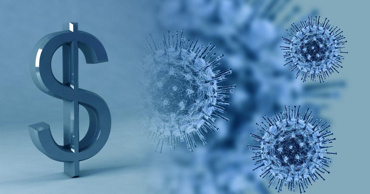 Un signe de dollar à côté d'une image du coronavirus