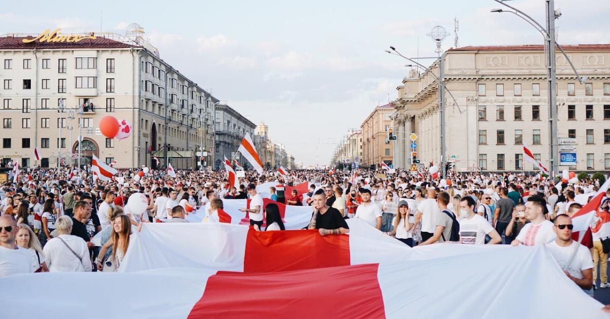 People protesting in Belarus