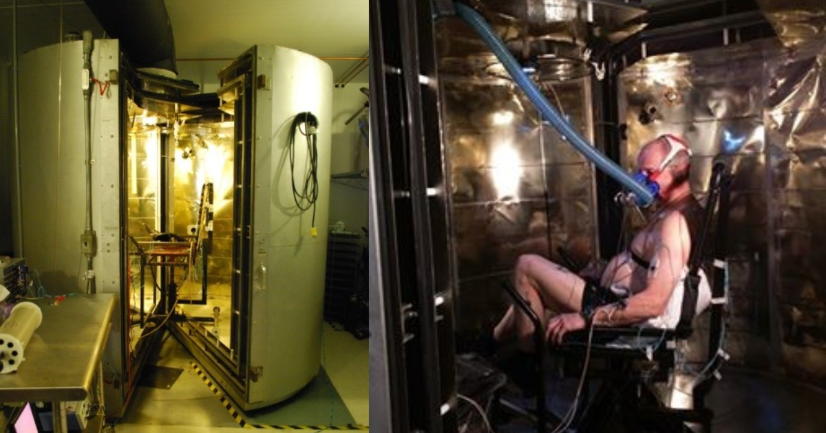 Participant seated within the calorimeter