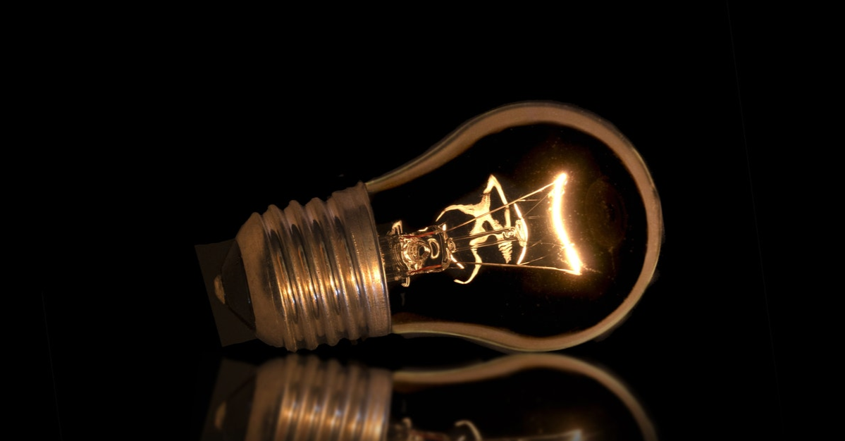 Electric light bulb in the dark