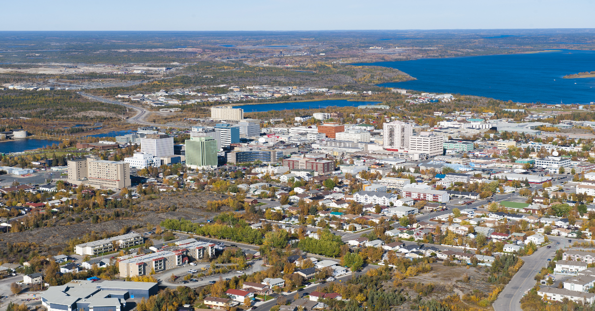 Yellowknife viewed from the sky