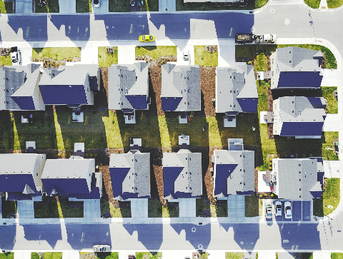 Suburban neighbourhood seen from the sky.