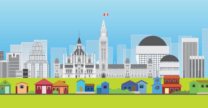 Illustration colorée de la ville d'Ottawa