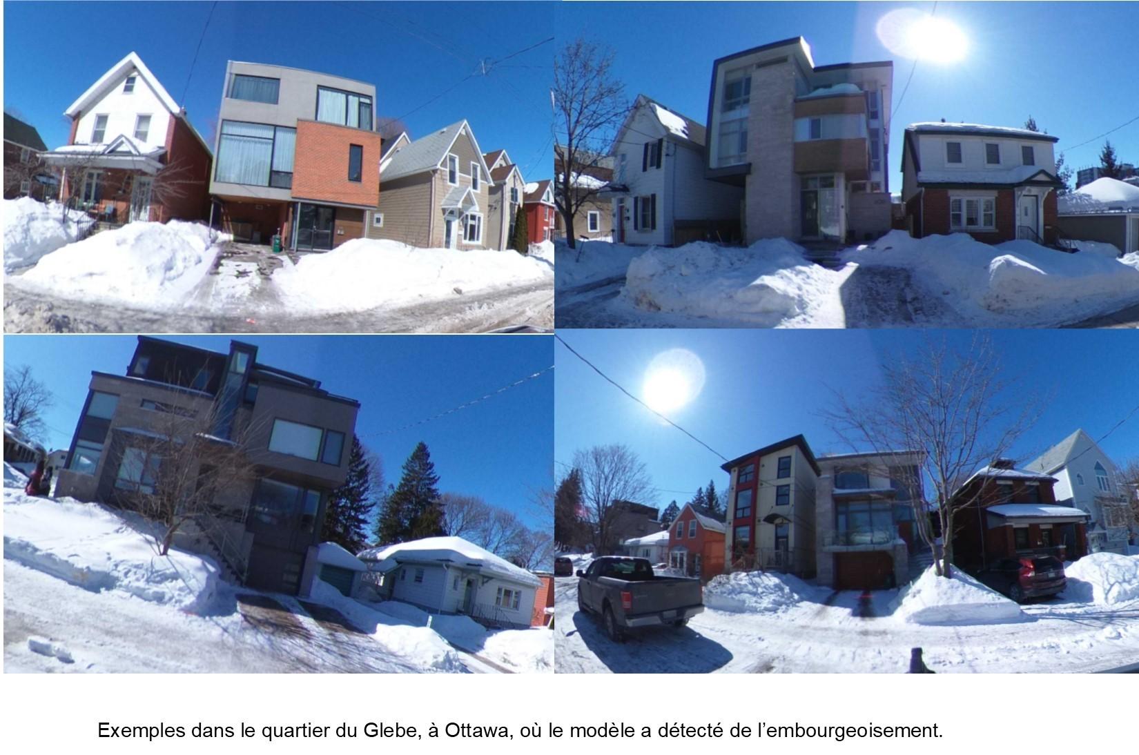 Examples dans le quartier du Glebe, à Ottawa, où le modèle a détecté de l'embourgeoisement.