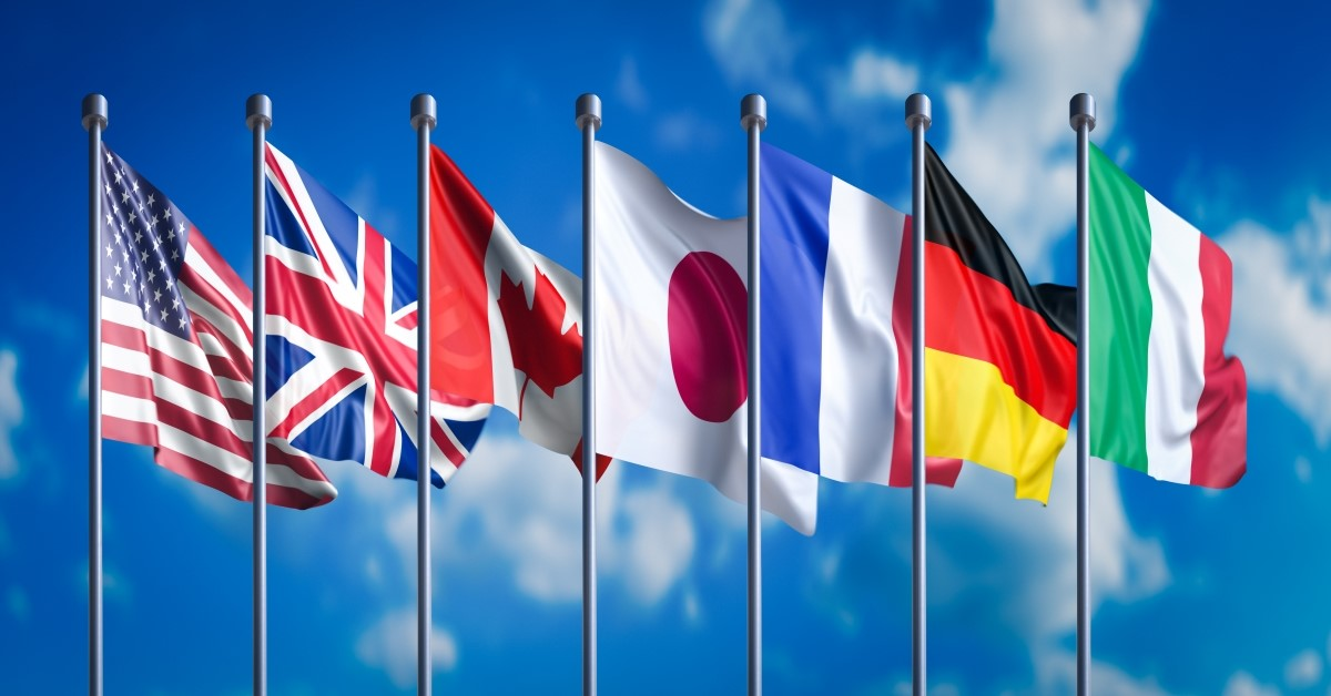 Various country flags flapping in wind