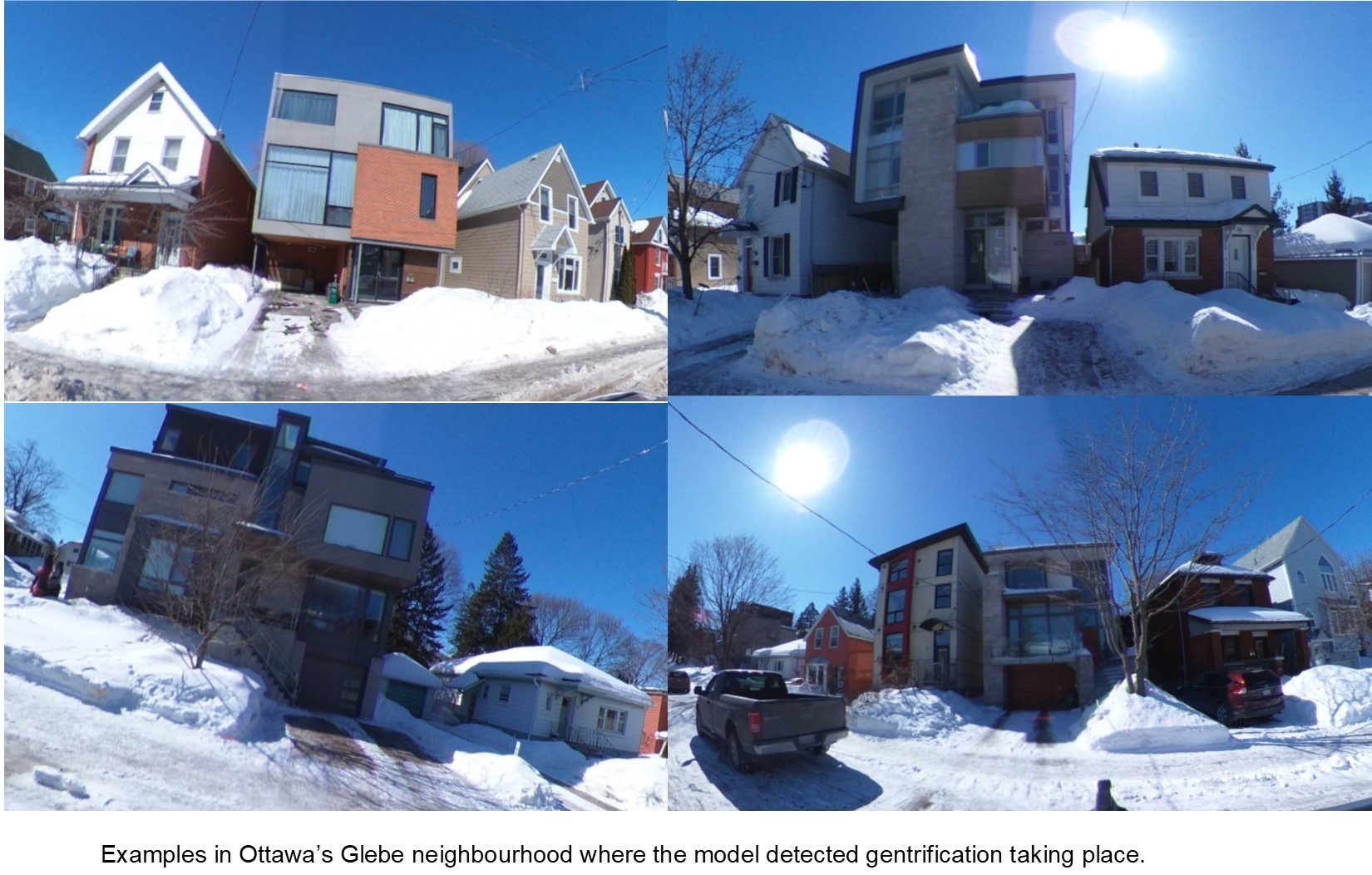 Examples in Ottawa's Glebe neighbourhood where the model detected gentrification taking place.