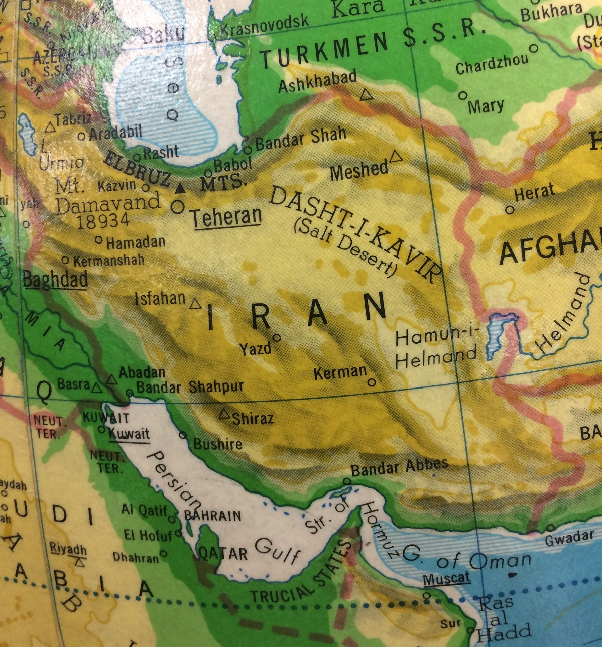 Country of Iran on a globe of the world