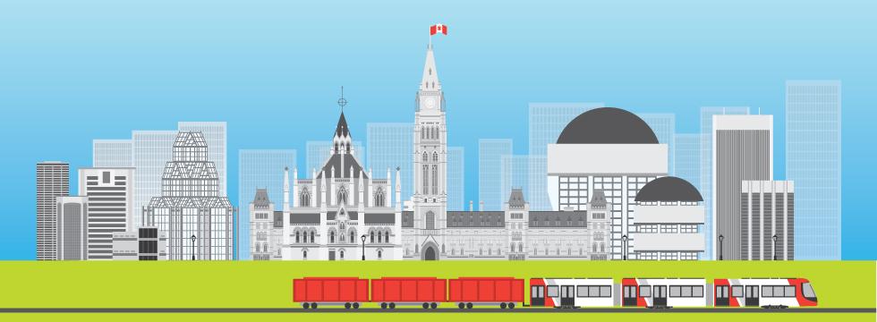 Illustration du train léger de la ville d'Ottawa