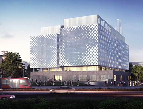 Représentation (dessin d'artiste) d'un nouvel édifice attrayant devant lequel marchent des passants; à l'avant-plan, de la circulation automobile et des arbres à l'arrière-plan.