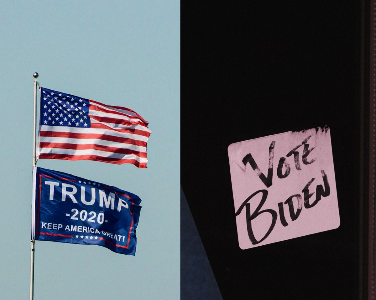 Signs for vote Trum and vote Biden