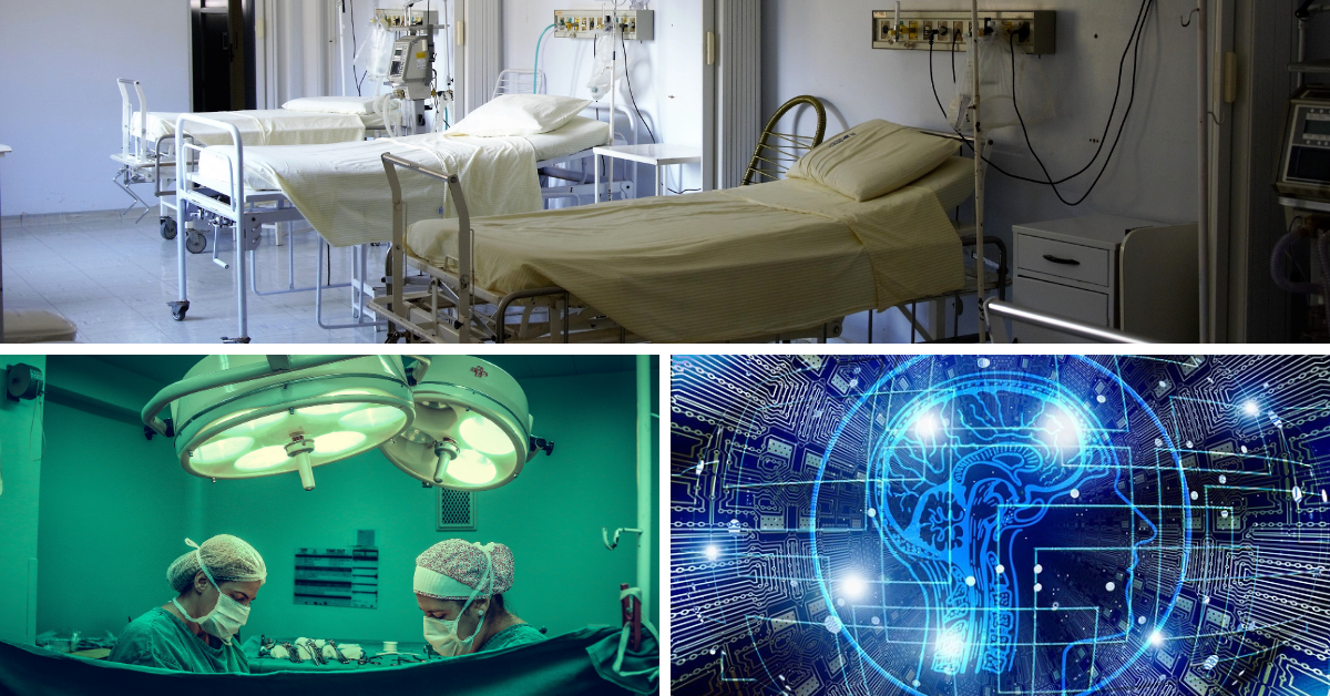 Doctor doing surgery and a representation of AI