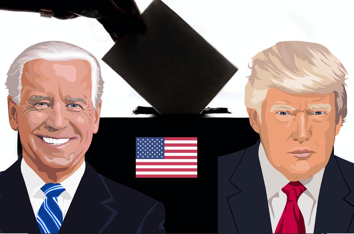 Biden, Trump, drapeau américain, l'urne électorale